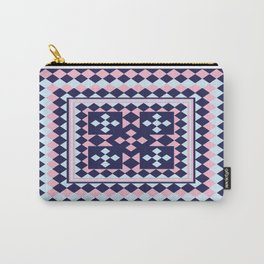 Patchwork Quilt - Pink Blue Navy Carry-All Pouch
