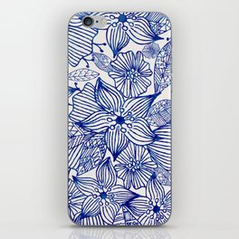 Hand painted royal blue white watercolor floral illustration iPhone Skin