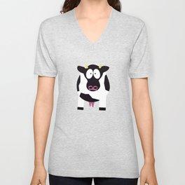 Cow in Cartoon Stlye Unisex V-Neck