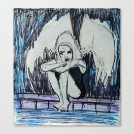 BORED ALBINO FALLEN ANGEL Canvas Print