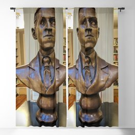 H.P. Lovecraft Master of Horror & Cthulhu Copper Bust at Providence Athenaeum Library  Blackout Curtain
