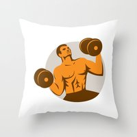 crossfit Throw Pillows featuring Strongman Crossfit Lifting Dumbbells Circle Retro by patrimonio