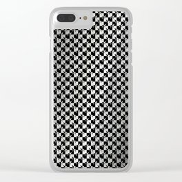 Black and Silver Gray Ghost Checkerboard Weimaraner Clear iPhone Case