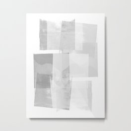 "Grey and White Minimalist Geometric Abstract ""Building Blocks"" Metal Print"