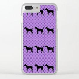 Black Lab in Purple Pattern Clear iPhone Case
