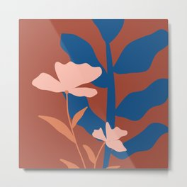 Botanical Abstract in Earthy Themed Metal Print