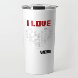 I Love Crossword Puzzle Puzzlers Geek Numbered Squares Thinking Gift Travel Mug