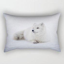 White snow arctic fox Rectangular Pillow