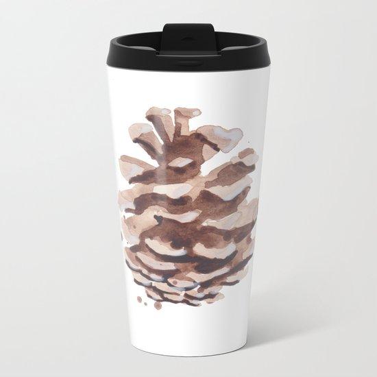 Pine Cone Study Metal Travel Mug