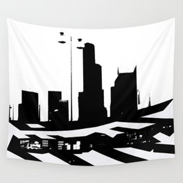 City Scape in Black and White Wall Tapestry