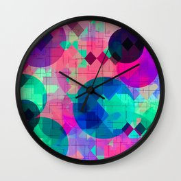 geometric square pixel and circle pattern abstract in pink blue green Wall Clock