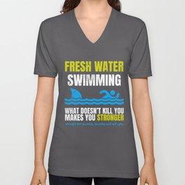 Funny Fresh Water Swimming Shark  Unisex V-Neck