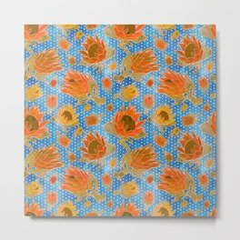 Australian Native Floral Pattern - King Protea Flowers Metal Print