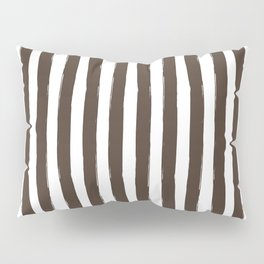 Brown and White Cabana Stripes Palm Beach Preppy Pillow Sham