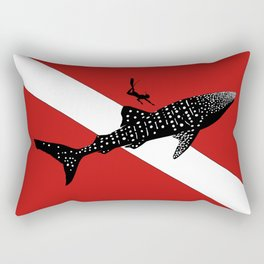 DIVER DOWN - whale shark dive Rectangular Pillow