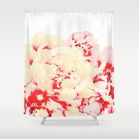 japanese Shower Curtains featuring japanese peony by clemm