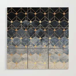 Blue Hexagons And Diamonds Wood Wall Art