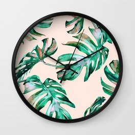 Tropical Palm Leaves Coral Greenery Wall Clock