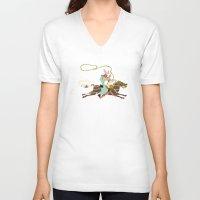 cowboy V-neck T-shirts featuring Cowboy by Design4u Studio