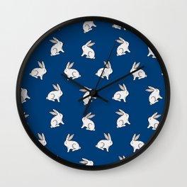 Rabbit pattern in dark blue Wall Clock
