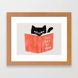 Cat reading book Framed Art Print