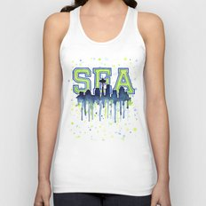 Seattle 12th Man Art Watercolor Space Needle Painting Unisex Tank Top
