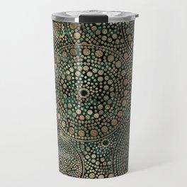 Dot Art Circles Malachite and Gold Travel Mug