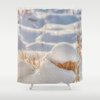 notebook Shower Curtains featuring And finally Winter, with its bitin', whinin' wind, and all the land will be mantled with snow. by UtArt