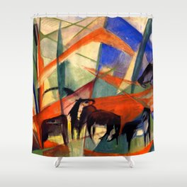 "Franz Marc ""Landscape with Black Horses"" Shower Curtain"