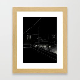 Dog on the roof Framed Art Print