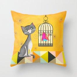 Cat Bird Seat Throw Pillow