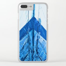 Blue Boat Hull Wooden Boats Fishing Fisherman Seafood Painted Wood Vintage Weathered Nautical Beach Clear iPhone Case