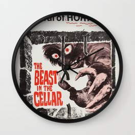 The Beast in the Cellar, vintage horror movie poster Wall Clock