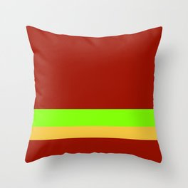 Solid Chestnut Red w/ Lime Green and Solid Light Orange Divider Lines Throw Pillow