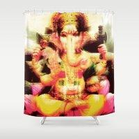ganesh Shower Curtains featuring Ganesh by nuzzocozzamara
