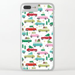 Christmas car tradition christmas trees holiday pattern winter festive Clear iPhone Case