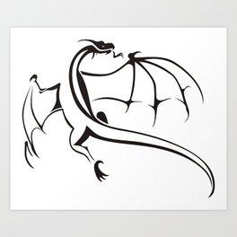 A simple flying dragon Art Print