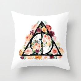 Watercolor Deathly Hallows Throw Pillow