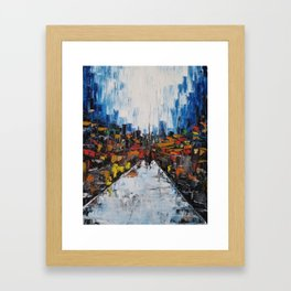 City of Reflections, NYC art, abstract city, city scape, colorful city Framed Art Print