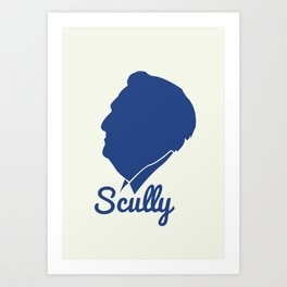 Vin Scully Silhouette  Art Print