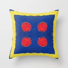 Red dots & yellow square Throw Pillow