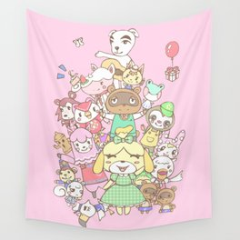 Animal Crossing (pink) Wall Tapestry