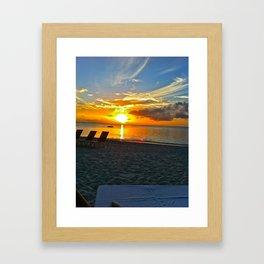 Beach Sun Set  Framed Art Print
