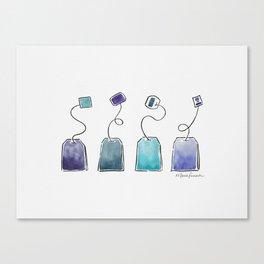 Blue tea bags Canvas Print