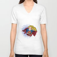 supergirl V-neck T-shirts featuring Supergirl by WaterFly Studio