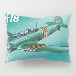 Postage stamp printed in Soviet Union shows vintage airplane Pillow Sham