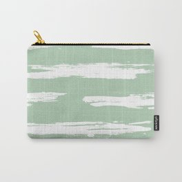 Swipe Stripe White on Pastel Cactus Green Carry-All Pouch