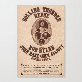 Vintage 1975 Bob Dylan and Rolling Thunder Review Flyer - Poster Providence Concert Canvas Print