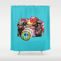 monika strigel Shower Curtains featuring Picture This by Bianca Green