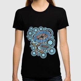 Madhubani - Blue Fish Flower2 T-shirt